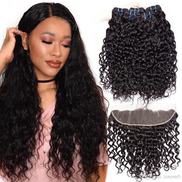 Water Wave Bundles With Frontal Closure High temperature silk wig Frontal Closure With Brazilian Hair Weave Free shipping