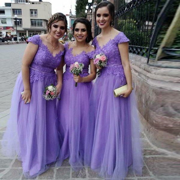 Purple A Line Long Bridesmaid Dresses Jewel Neck Cap Sleeve Ribbon Sash Prom Party Dresses Tulle Skirt Wedding Guest Dress