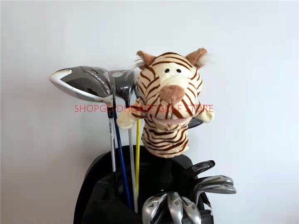 Animal White Brown Striped Tiger Golf Fairway Woods Headcover Fumetto Golf Cover Articoli sportivi Accessori Club Mascotte Novità Cue regalo