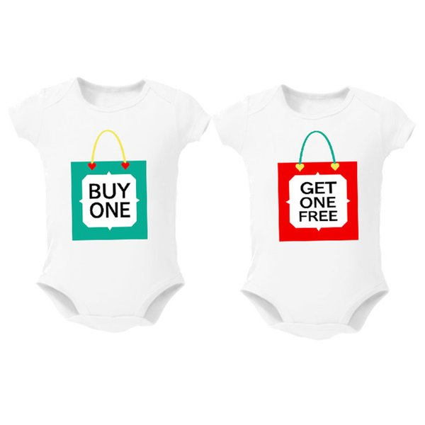 Twins Baby Bodysuits Clothes Shower Gift Buy One Get One Free Baby Boy Girl Clothing Cute Baby Twins Matching Outfits 0-12m Y19050602