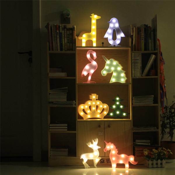 Lovely giraffe penguin Christmas tree PVC Plastic Sleep Led Kids Lamp Bulb Nightlight for Children Baby Bedroom Lamps Night Light Cartoon P