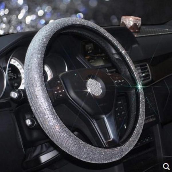 Cubierta universal del volante del coche tapa de cuero rhinestone diamante volante cubre para mujeres niñas car-styling accesorios