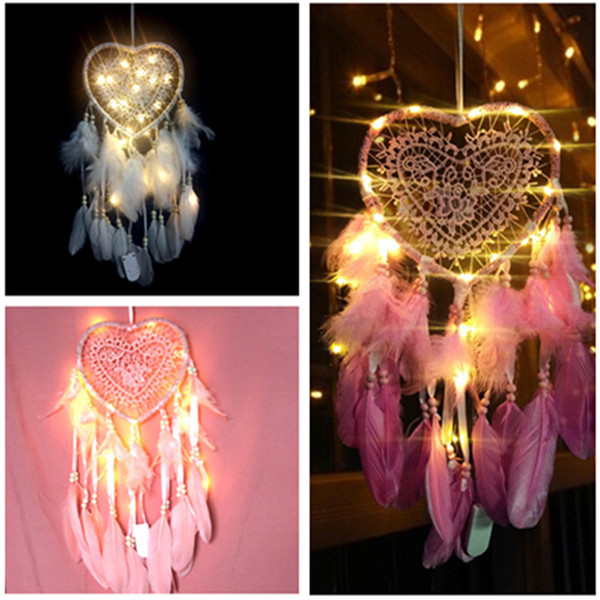 top popular LED Hollow Love Dream Catcher Dreamcatcher Feather Pendant Dream Catcher Creative Hanging Craft Wish Gift Home Decoration 3 color 2021