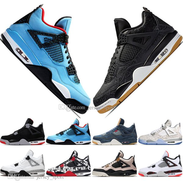 New 2019 Newest Bred 4 4s What The Cactus Jack Laser Wings Mens Basketball Shoes Denim Blue Pale Citron Men Sports Designer Sneakers 36-47