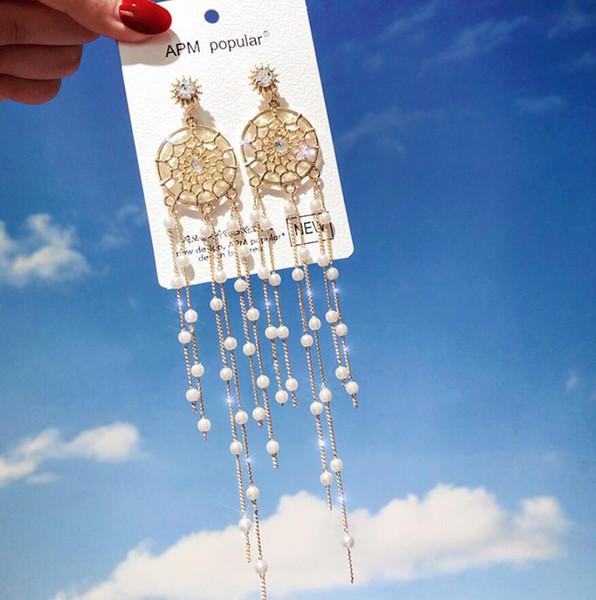 Mujeres Estilo étnico Dream Catcher Pendientes de perlas Bohemio Cadena larga borla Cuelga Ear Stud Pendientes de gota