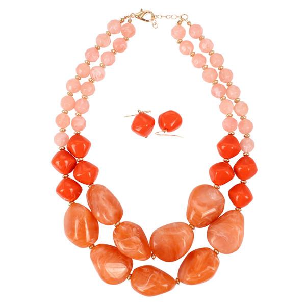 Bib Declaração Colares Gargantilha Resina Bead Colares Para Senhoras contas artesanais Multi camada trajes de jóias para as mulheres