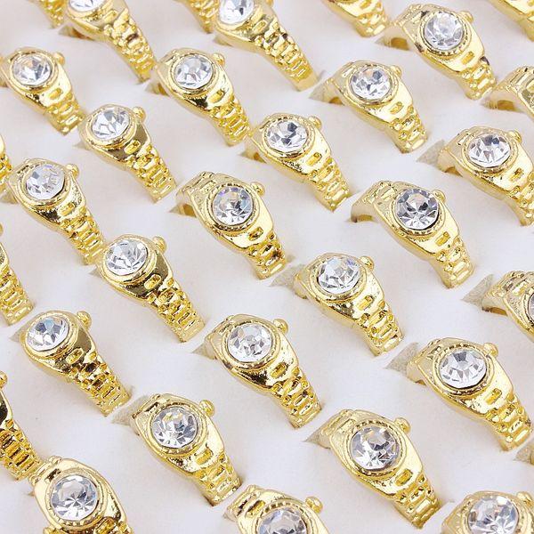 Высочайшее качество моды изысканный сплав позолоченный горный хрусталь кольцо новые смешанные 50 шт. Мужчина и женщина очарование кольца блеск бесплатная доставка 6-9