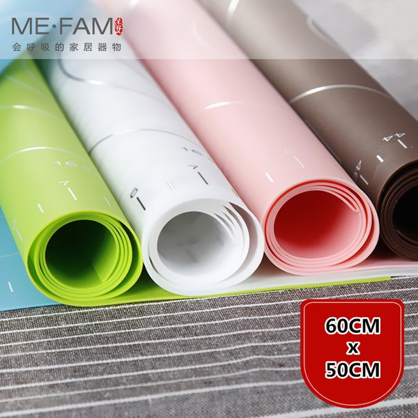 top popular Me.fam Large Size 60x50cm Food Grade Silicone Baking Mat Non-slip Heat Resistance Kneading Dough Placemat Non-stick Pastry Mats Q190430 2020