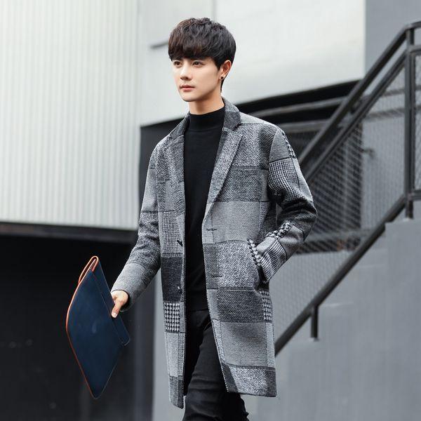 nice autumn&winter mens jackets and coats casaco masculino plaid coat man korean style woolen coat men outwear