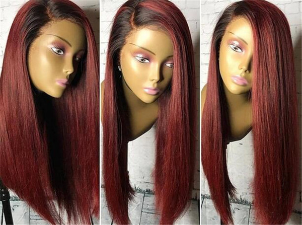 Burgundy Lace Front Wig With Baby Hair Straight 130% Density Brazilian Remy Ombre Human Hair Wig With Dark Roots 13x4