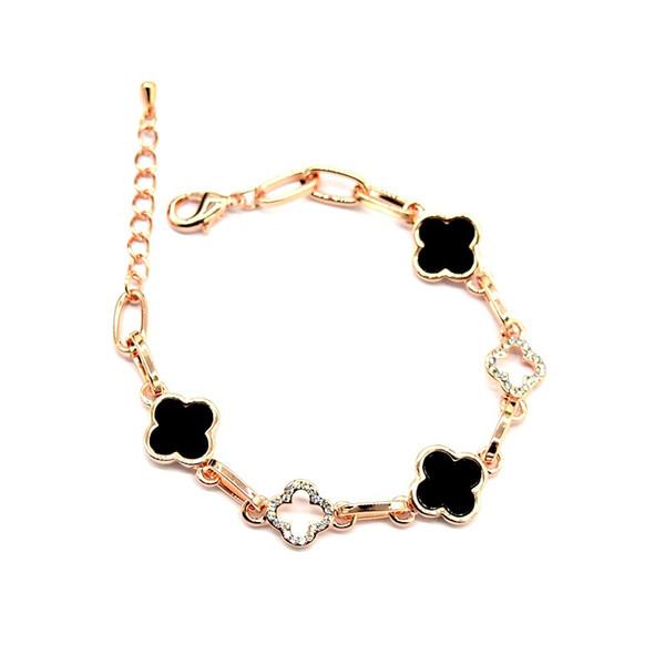 Four leaf Clover Charm Bracelets Crystal 18K Rose Gold Rhinestone Four Leaf Clover Bracelet Classic Bangles Female Women Jewelry Party Gift