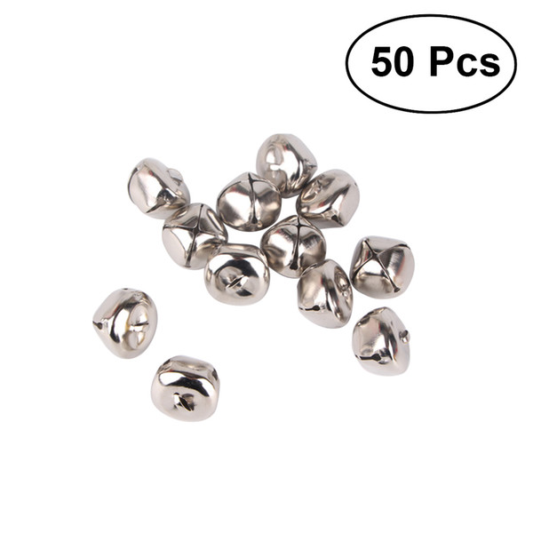 Bells 50Pcs 25mm Christmas Jingle Bell Silver Cross with 20m Red String for Christmas Tree Jewelry Craft
