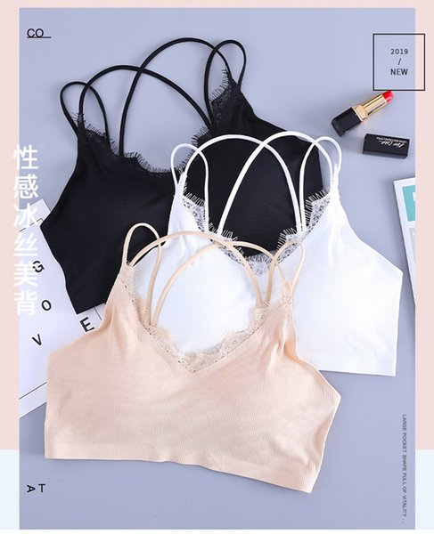 Fashion Sexy Women Lace Wire Free Non-Adjusted Criss-Cross Straps Natural Color V Neck Bra Girl Underwear Women Top