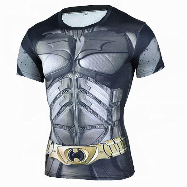 Tights Running Sport Shirt Mens Batman 3D Printed Short Sleeve T-Shirt Men Fitness Rashgard Gym Quick Dry Tops Tees Clothing