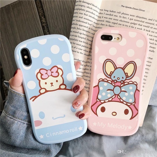 happy My Melody Cinnamoroll Dog Phone Case for iPhone 6 6s 7 8 Plus X XR XS Max Cute Cartoon Soft Silicone Rubber Cover Fundas Coque