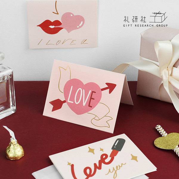 Valentine's Day Gift Greeting Card Pink Sweet Heart Series Hot Stamping Thank You Loveheart Print Cards Boyfriend Gifts MC001