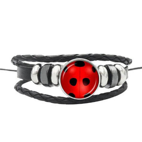Miraculous Ladybug Bracelet Lady Bug & Black Cat Sign Glass Gem Leather Handmade Weave Jewelry Children Birthday Party Gift