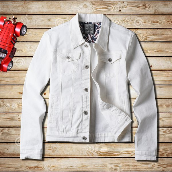 2019 new solid color simple stretch high-end men's denim jacket autumn cotton single-breasted white slim denim jacket coat male