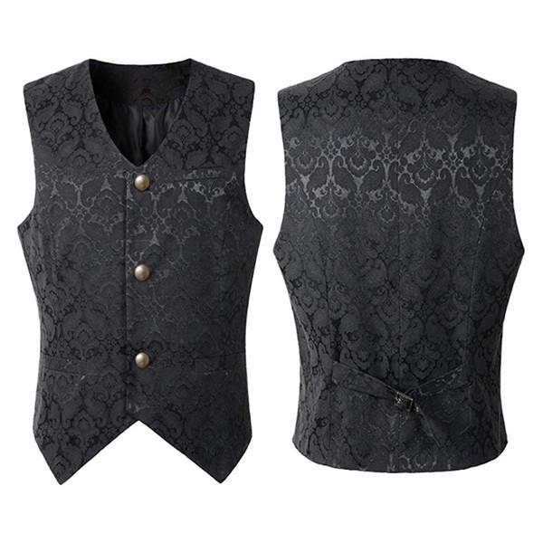 Männer Mann Anzug Slim Fit Punk Jacke Vintage Mantel Outwear Button Tailcoat feste Weste Mantel New Fashion Weste Retro Style B1