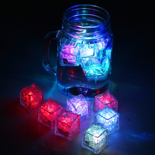 top popular LED ice cube Led party lights Lite cubes Multicolor Light up LED Blinking Ice Cubes Liquid active sensor Night Lights for Party 2020