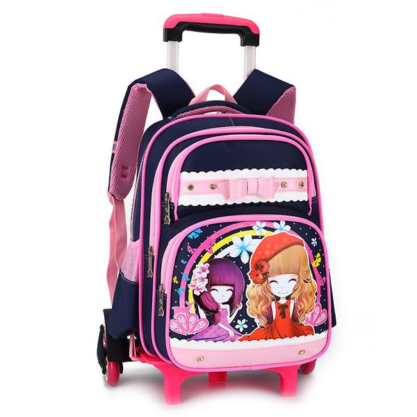 waterproof Trolley children School Bags Girls backpacks Wheels Travel bags Luggage backpack kids Rolling detachable schoolbags