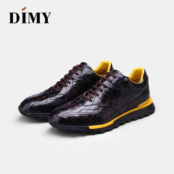 DIMY scarpe in pelle da uomo personalizzate fatte a mano vestono scarpe casual moda Inghilterra vento casual coccodrillo dipinto a mano