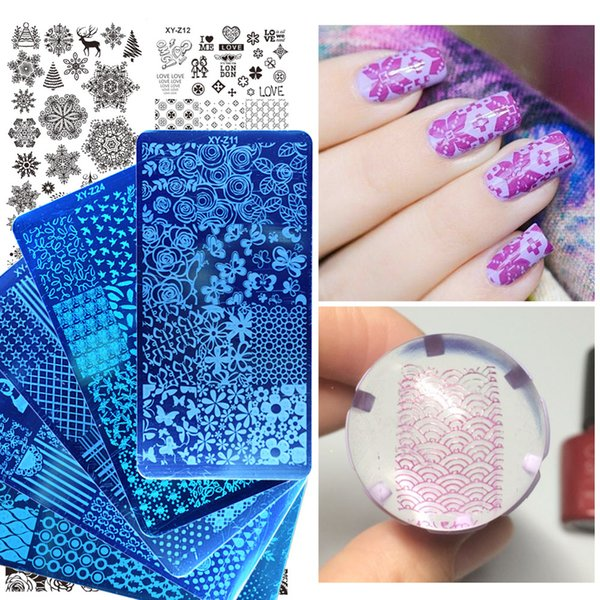 stamping plates 1 Pcs Stamping Plates 2018 New Arrival Lace/Cartoon/Animal/Flowers Patterns Nail Art Decoration Polish Templates SAXYZ01...