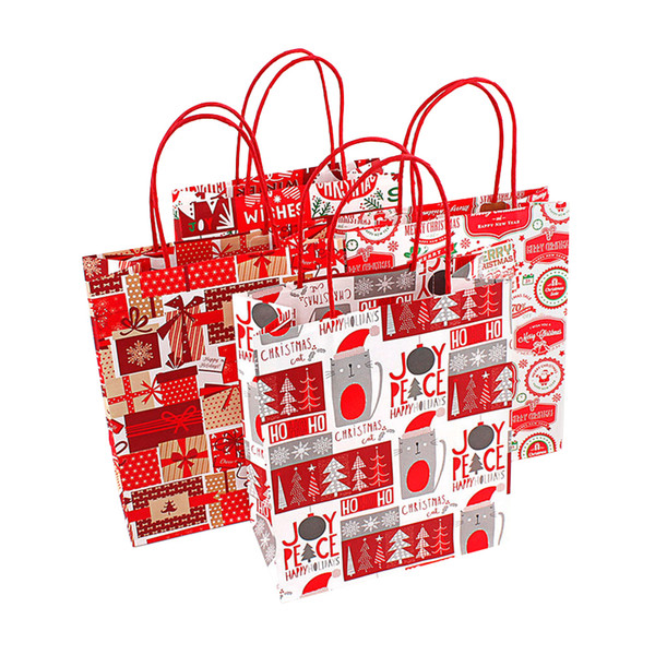 Merry Christmas Kraft Paper Bag Santa Claus Gift Bags Candy Bag Christmas Party Supplies Each Random Shipment
