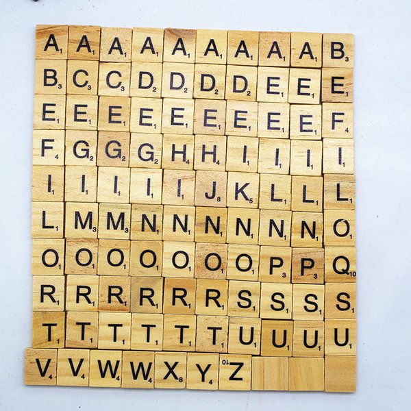 100pcs/Lot Wooden Alphabet Scrabble Tiles Black Capital Letters Lowercase & Numbers For Crafts Wood DIY Block Education Toy