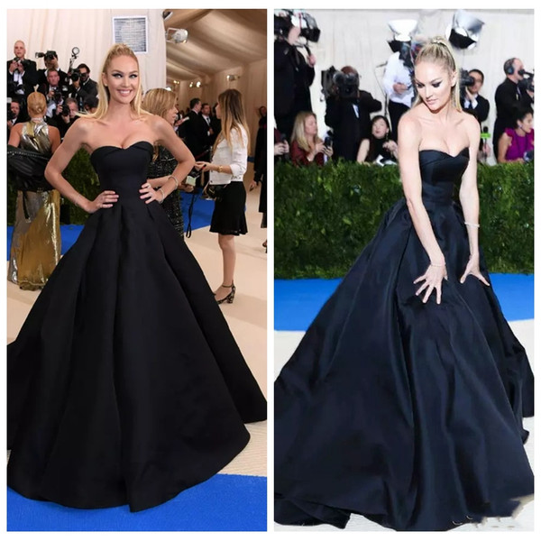 2019 Sweetheart Met Gala Ball Gown Evening Dresses Long Candice Swanepoe Black Prom Party Gowns Red Carpet Celebrity Gowns Vestidos De Soire