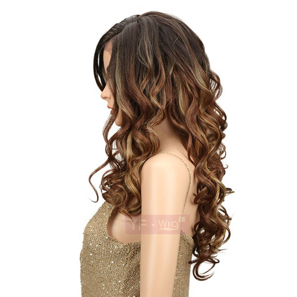 Synthetic Curly Wavy Wig Long Toffee Color Hair Wigs Hot Sale High Temperature Fiber wig Cosplay Wig for Black Women