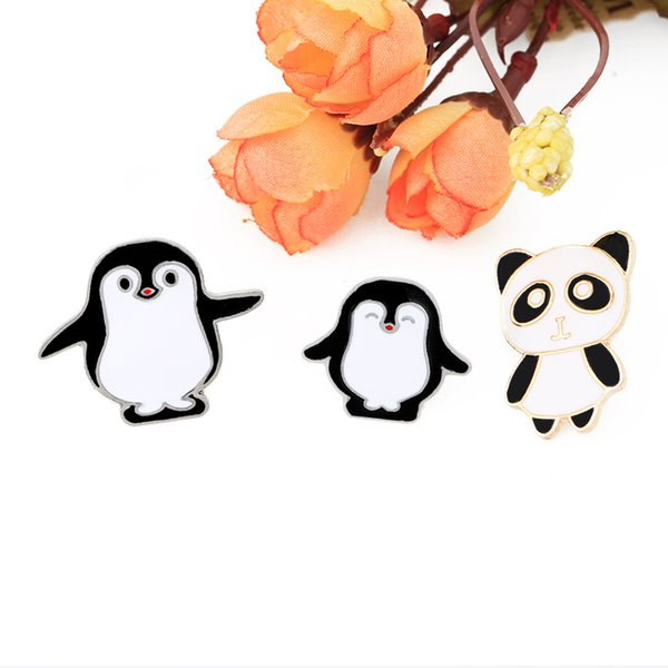 Panda penguin black and white penguin with closed eyes personality ornament brooch lapels ornament combination pins