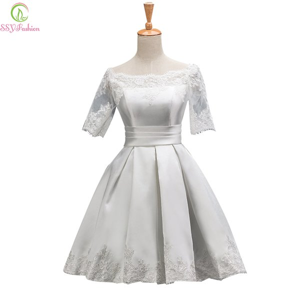 wholesale Bride Luxury Satin Lace Embroider Short Sleeved Aline Boat Neck Evening Dress Banquet Elegant Party Gown Prom