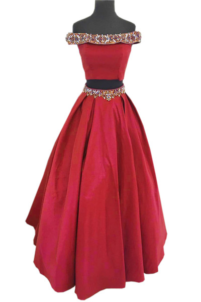 Red Two Pieces Beads Prom Dresses 2019 Cheap Long Designer Off shoulders Crystal Real Photos Celebrity Evening Formal Wear Party Dress Gowns