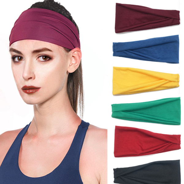 Women Yoga Wide Headband Sport Elastic Cotton Printed head bandage running Sweat Absorbing Running Gym Scrunchy Hair Bands LE253