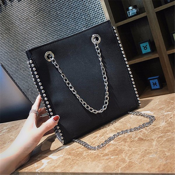 new arrival solid pu female brown hand bags leather women chain black handbag lady casual big rivet lady bucket tote bags