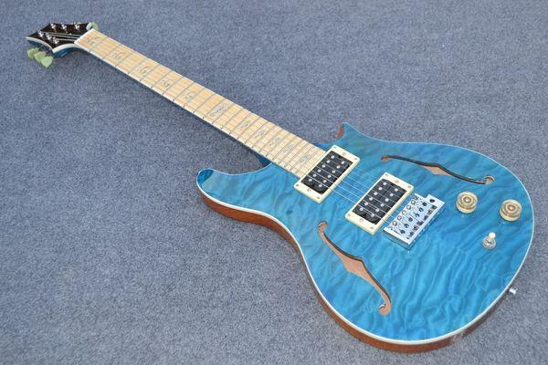 Factory custom jazz 6-string electric guitar, double f-hole semi-hollow, transparent blue, custom color micro-label