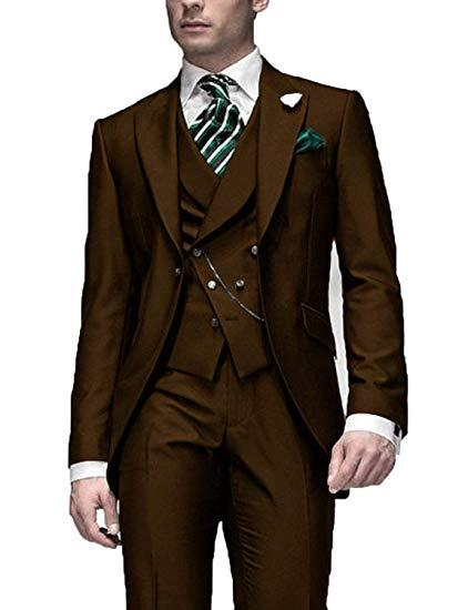 Very Good One Button Brown Groom Tuxedos Peak Lapel Men Suits 3 pieces Wedding/Prom/Dinner Blazer (Jacket+Pants+Vest+Tie) W559