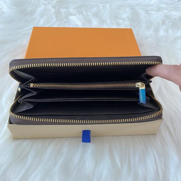 top popular Free Shipping Wholesale Brown Long Wallet Multicolor Coin Purse Card Holder Original Box Mens Classic Zipper Pocket Serial Purses 2020
