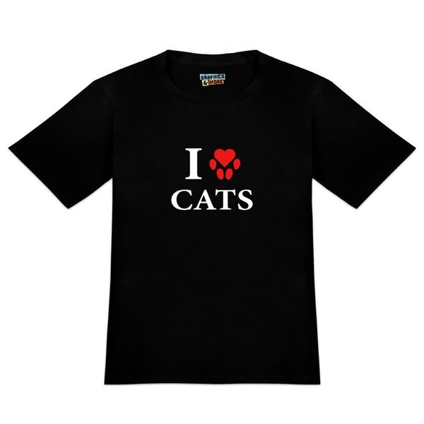 I Love cats Mens Printed T-Shirt heart