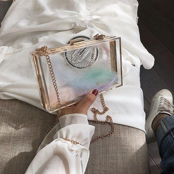 Borse a tracolla trasparente acrilico della scatola per le donne frizioni di giorno duro a catena delle borse Borse della borsa di sera della decorazione della festa nuziale della piuma
