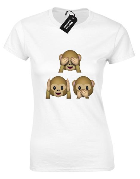 3 T-SHIRTS DE SINGES EMOJI LADIES FUNNY I PHONE DESIGN FASHION MIGNON JOKE GIFTFunny livraison gratuite Unisexe Casual T-shirt top