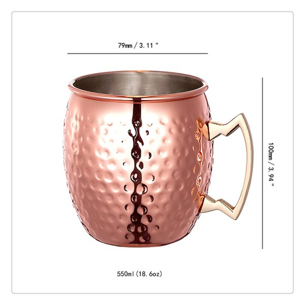 Solid Copper Moscow Mule Mugs 18 Ounce Unlined Mug Drinking Cup Perfect for Cocktails Iced tea and Beer Creative