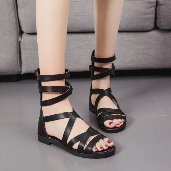 Lucky2019 In Loukong Xia Tube Cold Boot Crossing Bandage Sandals Woman Flat Bottom Level With Rome Shoes Tide
