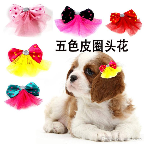100 pcs/lot Dog Grooming Bows Diamond Pearls Style pet hair bows dog hair accessories pet shop dog acessories
