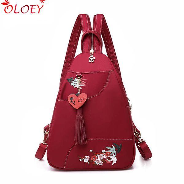 2019 new Brand waterproof Oxford women backpack high quality school bag for women embroidery multifunctional woman tassel bag