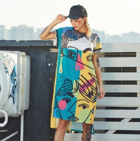 New Pre-sale 2019 Fashion Printed Dresses For Women Cartoon Graffiti Straight Long T Shirts Dress Streetwear Hip Hop Dance Cloth Y19051001