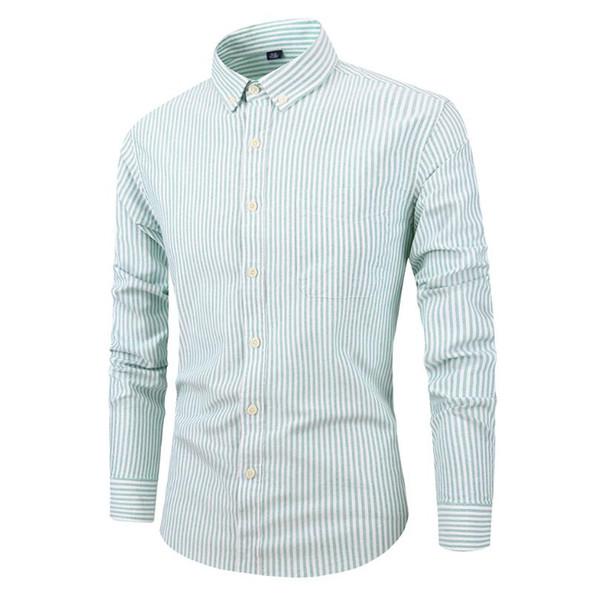 Primavera e Outono dos homens Camisas Nova Listra de Algodão Oxford Fivela dos homens Camisa de Manga Longa dos homens Magros Tops