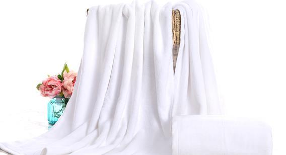 Factory wholesale white bath towel pure cotton to increase the thickness of adult 180 hotel sauna foot bath beauty salon towel