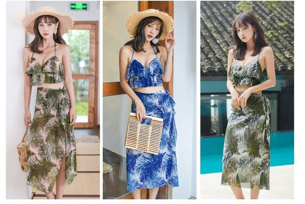 2019 Bikini Beach Resort Hot SpringThree-piece Swimsuit Skirt-style Bathing Suits Swimwear Fashion Shawl With Chest Pad ZH0004